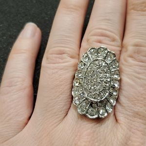 Silver tone cocktail ring